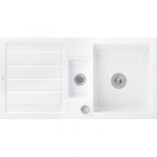 Villeroy & Boch Flavia 60 Premiumline mit Dreh-Excenter-Ablaufgarnitur Weiß glänzend Einbauspüle Ker