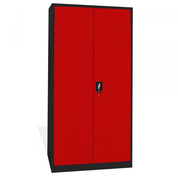 Home Profis HPMAS-185 Metall Aktenschrank in Schwarz-Rot