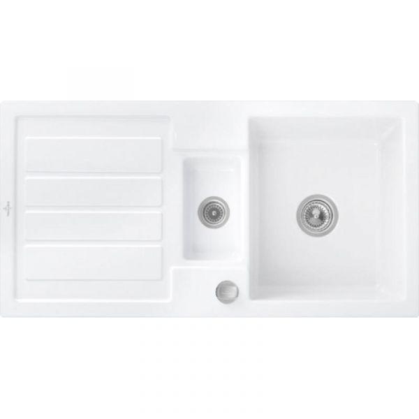 Villeroy & Boch Flavia 60 Premiumline mit Dreh-Excenter-Ablaufgarnitur Snow white glänzend Einbauspü