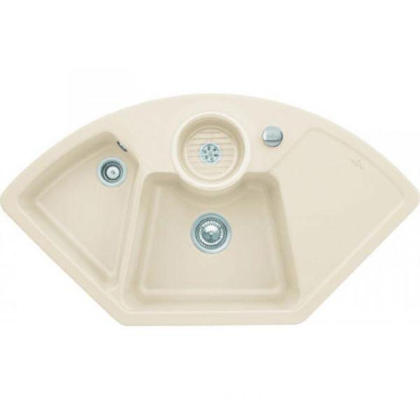 Villeroy & Boch Solo Eck Premiumline mit Dreh-Excenter-Ablaufgarnitur Ivory Einbauspüle Keramik