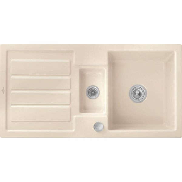 Villeroy & Boch Flavia 60 Premiumline mit Dreh-Excenter-Ablaufgarnitur Ivory Einbauspüle Keramik