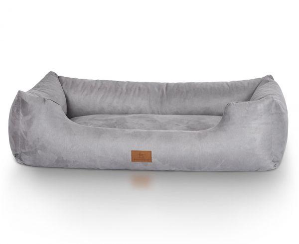 Hundebett Dreamline aus Velours Grau (105 x 75 cm)