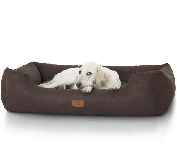 Hundebett Mira aus Velours Braun (155 x 105 cm)