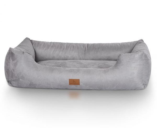 Hundebett Dreamline aus Velours Grau (85 x 63 cm)