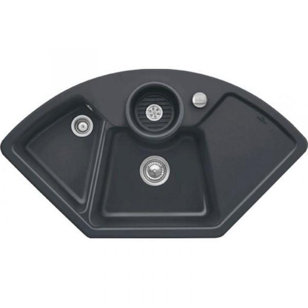 Villeroy & Boch Solo Eck Premiumline mit Dreh-Excenter-Ablaufgarnitur Graphit Einbauspüle Keramik