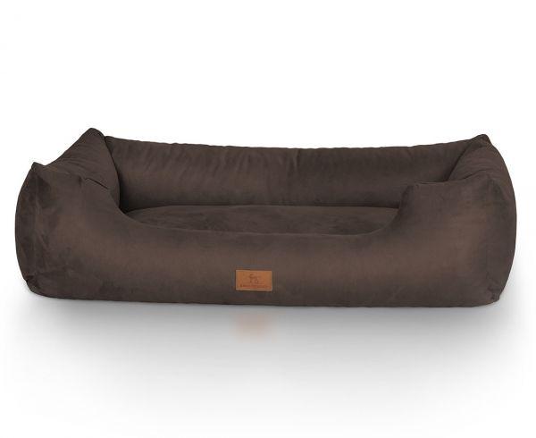 Hundebett Dreamline aus Velours Braun (120 x 85 cm)