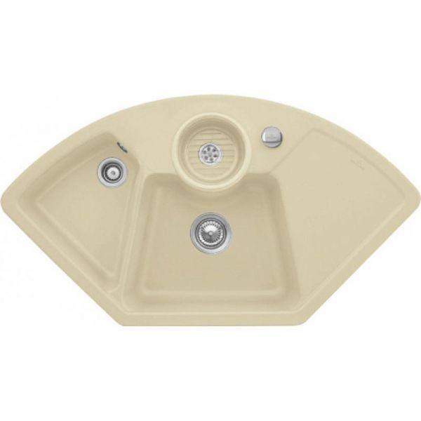 Villeroy & Boch Solo Eck Premiumline mit Dreh-Excenter-Ablaufgarnitur Sand Einbauspüle Keramik