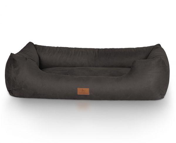 Hundebett Dreamline aus Velours Schwarz (85 x 63 cm)